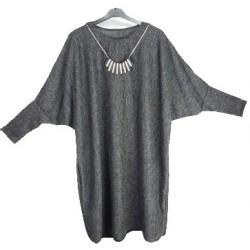 Feinstrick Tunika mit Kette meliert DUNKELGRAU (105cm) *Islam Hijab Abaya muslim takschita tunika abaya hijab islam*