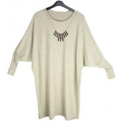 Feinstrick Tunika mit Kette meliert CREME (105cm) *Islam Hijab Abaya muslim takschita tunika abaya hijab islam*