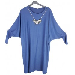 Feinstrick Tunika BLAU mit Kette meliert (105cm) *Islam Hijab Abaya muslim takschita tunika abaya hijab islam*